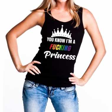 Carnavalskleding zwart you know i am a fucking princess tanktop dames