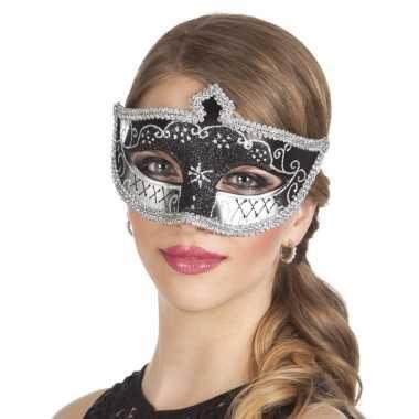 Carnavalskleding zwart/zilver oogmasker glitters dames arnhem