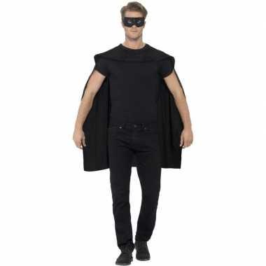 Carnavalskleding zwarte cape oogmasker volwassenen arnhem