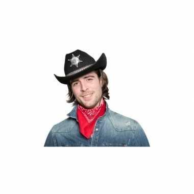 Carnavalskleding zwarte cowboyhoed sheriff ster arnhem