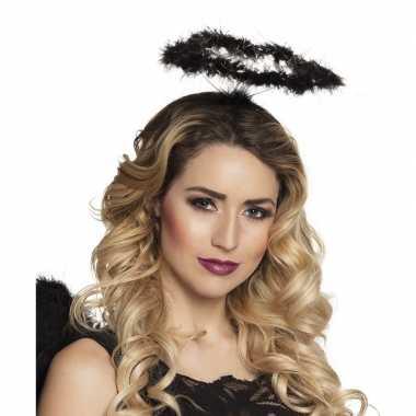 Carnavalskleding zwarte engel verkleed diadeem/tiara halo arnhem