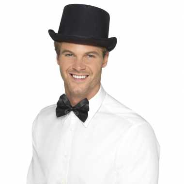 Carnavalskleding zwarte hoge hoed satijn look heren arnhem