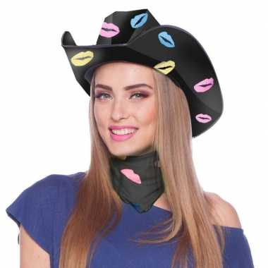 Carnavalskleding zwarte kartonnen cowboyhoed lippen/kusjes dames arnh