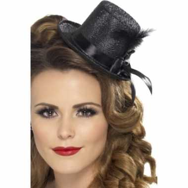 Carnavalskleding zwarte mini hoge hoed veer arnhem