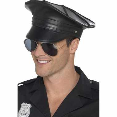 Carnavalskleding zwarte politiepet lederlook heren arnhem