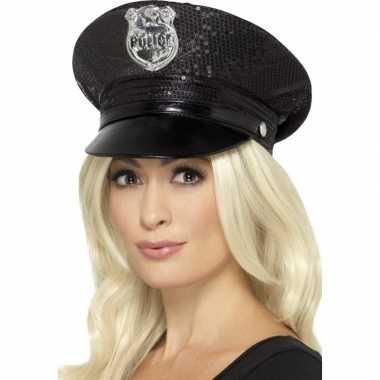 Carnavalskleding zwarte politiepet pailletten dames arnhem