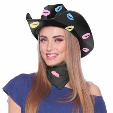 Carnavalskleding zwarte sjaaltje/bandana lippen/kusjes dames arnhem