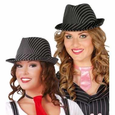 Carnavalskleding zwarte trilby hoed krijtstreep volwassenen arnhem