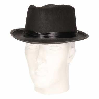 Carnavalskleding zwarte trilby hoed vilt volwassenen arnhem