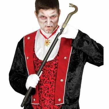 Carnavalskleding zwarte vampier/dracula wandelstok slang arnhem