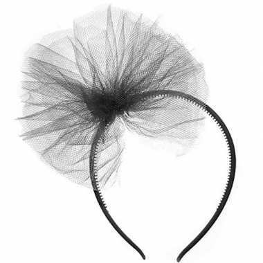 Carnavalskleding zwarte verkleed diadeem tule strik meisjes arnhem