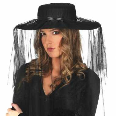 Carnavalskleding zwarte weduwe hoed sluier dames arnhem
