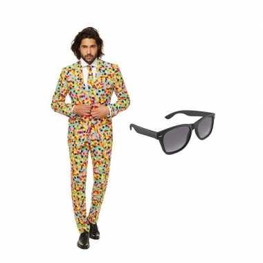 Confetti print heren carnavalskleding maat (xl) gratis zonnebril arn