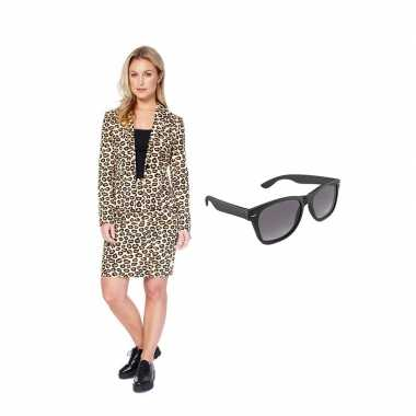 Dames mantelcarnavalskleding luipaard print maat (xl) gratis zonnebr