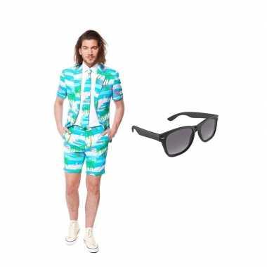 Flamingo zomer heren carnavalskleding maat (s) gratis zonnebril arnh