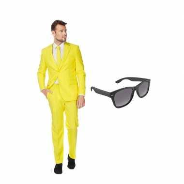 Geel heren carnavalskleding maat (xxxxl) gratis zonnebril arnhem