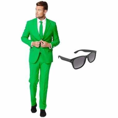 Groen heren carnavalskleding maat (xxxl) gratis zonnebril arnhem