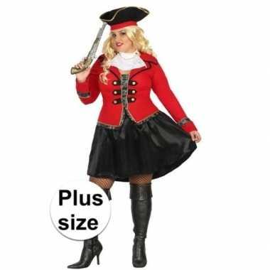 Grote maat kapitein piraat grace verkleed carnavalskleding/carnavals