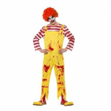 Halloween horror clown carnavalskleding rood/geel heren arnhem
