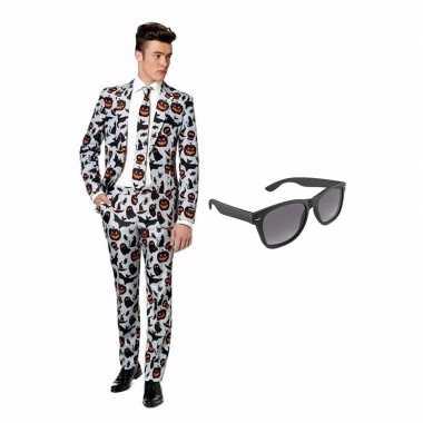 Halloween print heren carnavalskleding maat (xl) gratis zonnebril ar