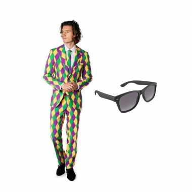 Harlekijn print heren carnavalskleding maat (l) gratis zonnebril arn
