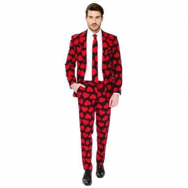 Heren verkleed carnavalskleding/carnavalskleding rode hartjes print