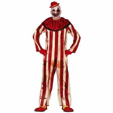 Horror clown billy verkleed carnavalskleding rood/wit heren arnhem