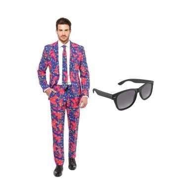 Jaren print heren carnavalskleding maat (l) gratis zonnebril arnhem