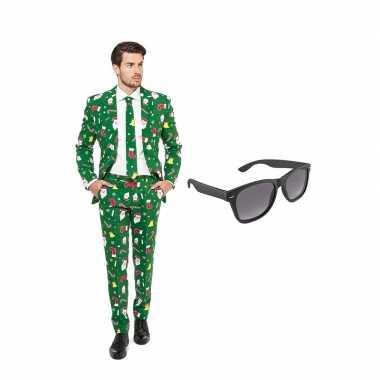 Kerst print heren carnavalskleding maat (l) gratis zonnebril arnhem