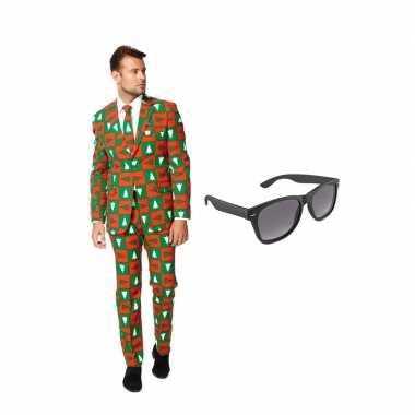 Kerst print heren carnavalskleding maat (xxxxl) gratis zonnebril arn