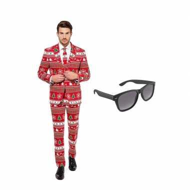 Kerstboom print heren carnavalskleding maat (xxl) gratis zonnebril a