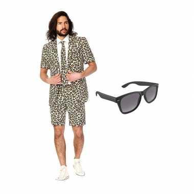 Luipaard print zomer carnavalskleding maat (xl) gratis zonnebril arn