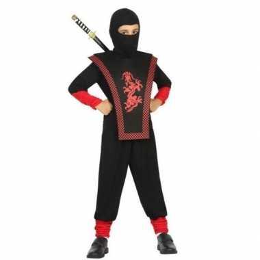 Ninja verkleed carnavalskleding zwart/rood jongens arnhem