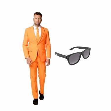 Oranje heren carnavalskleding maat (xl) gratis zonnebril arnhem