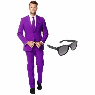 Paars heren carnavalskleding maat (xxxl) gratis zonnebril arnhem