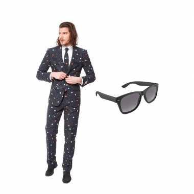 Pac man print heren carnavalskleding maat (m) gratis zonnebril arnhe