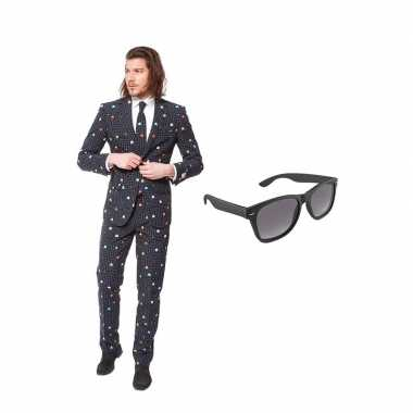 Pac man print heren carnavalskleding maat (xl) gratis zonnebril arnh