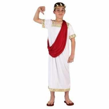 Romeinse toga verkleed carnavalskleding wit/rood jongens arnhem