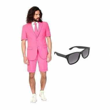 Roze heren zomer carnavalskleding maat (s) gratis zonnebril arnhem