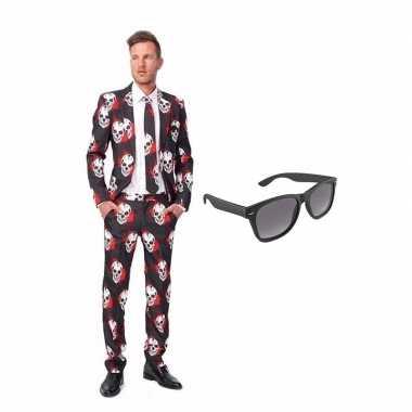 Schedel print heren carnavalskleding maat (xl) gratis zonnebril arnh
