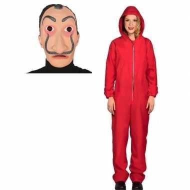 Verkleed carnavalskledingl papel rood maat l dames dali masker arnhe