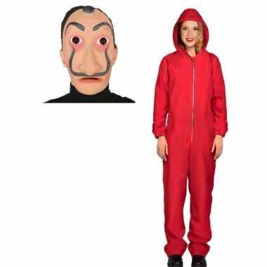 Verkleed carnavalskledingl papel rood maat m dames dali masker arnhe