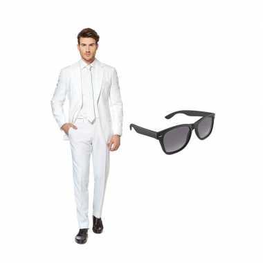 Wit heren carnavalskleding maat (l) gratis zonnebril arnhem