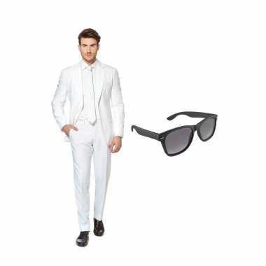 Wit heren carnavalskleding maat (xxxxl) gratis zonnebril arnhem