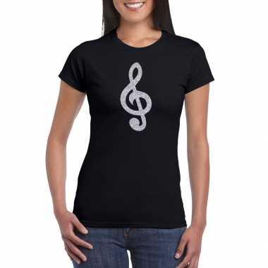 Zilveren muziek noot g sleutel / muziek feest t shirt / carnavalskleding zwart dames arnhem