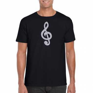 Zilveren muziek noot g sleutel / muziek feest t shirt / carnavalskleding zwart heren arnhem