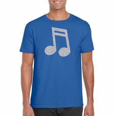 Zilveren muziek noot / muziek feest t shirt / carnavalskleding blauw heren arnhem