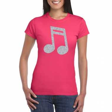 Zilveren muziek noot / muziek feest t shirt / carnavalskleding roze dames arnhem