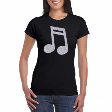 Zilveren muziek noot / muziek feest t shirt / carnavalskleding zwart dames arnhem