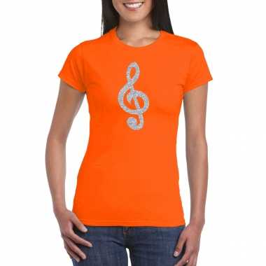 Zilveren muzieknoot g sleutel / muziek feest t shirt / carnavalskleding oranje dames arnhem